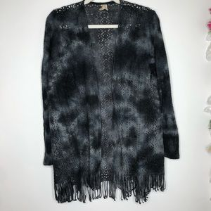 XCVI gray tye dye open front cardigan with fringe